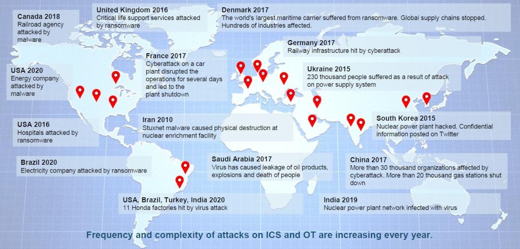 Cyberattack on SCADA, ICS and OT